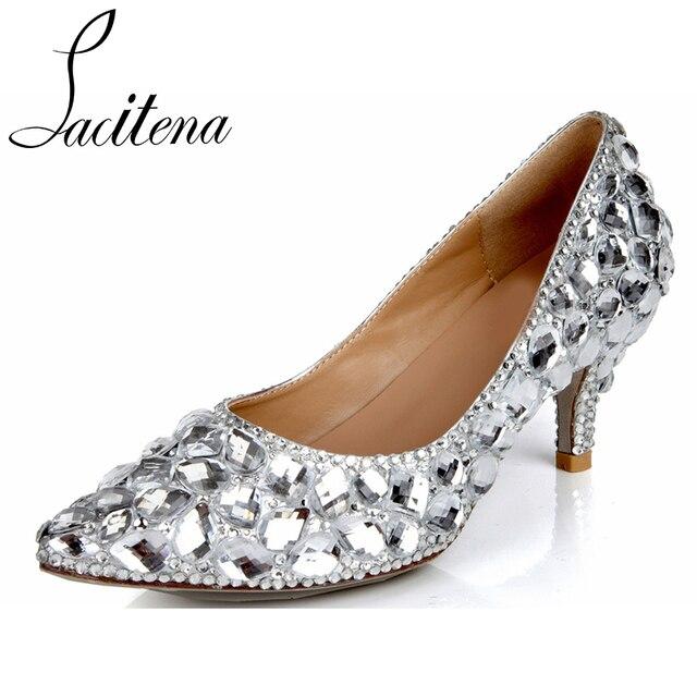 bf605c0049a3 Glass Diamond High Heel Shoes Women Crystal Shoes Silver Diamond Kitten  Heel Shoes Bridal Wedding Shoes