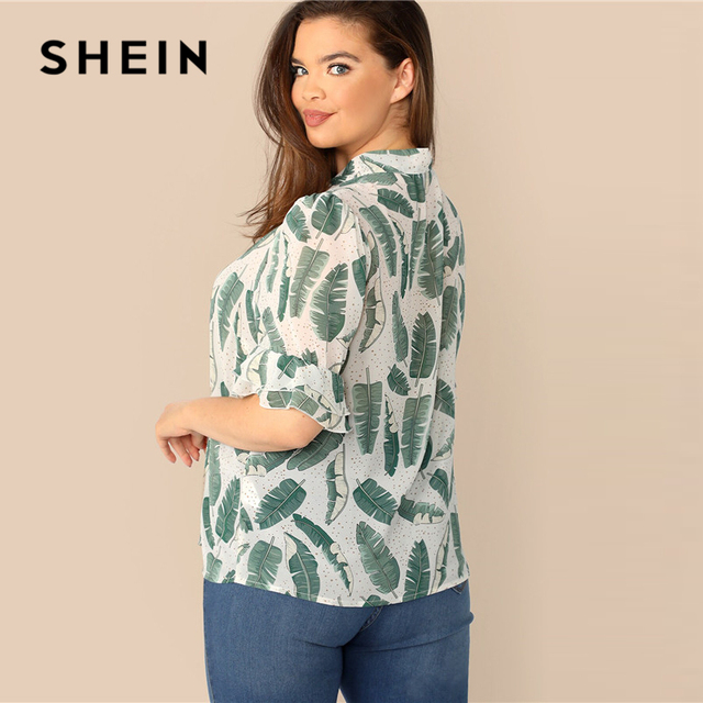 SHEIN Plus Size Multicolor Tie Neck Ruffle Trim Tropical Print Top Blouse 2019 Women Summer Boho Stand Collar Half Sleeve Blouse 2