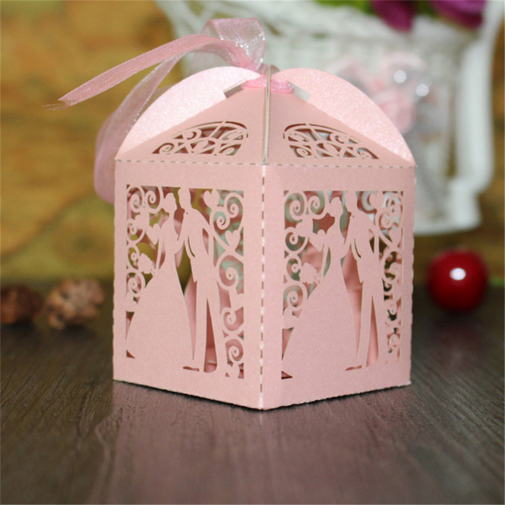 50Pcs/set Love Heart Party Wedding Candy Boxes Cutout Laser Sweets ...