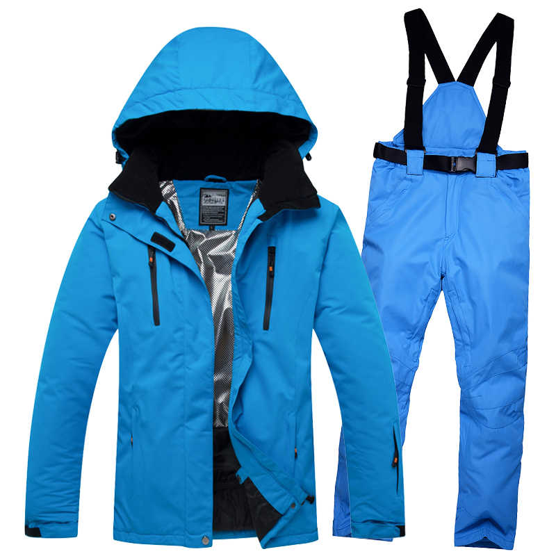 Solid Color Women Men Ski Jacket and Pants Winter Snow Clothes for Men or Women Snowboarding Suit Winter Ski Coat and Trousers