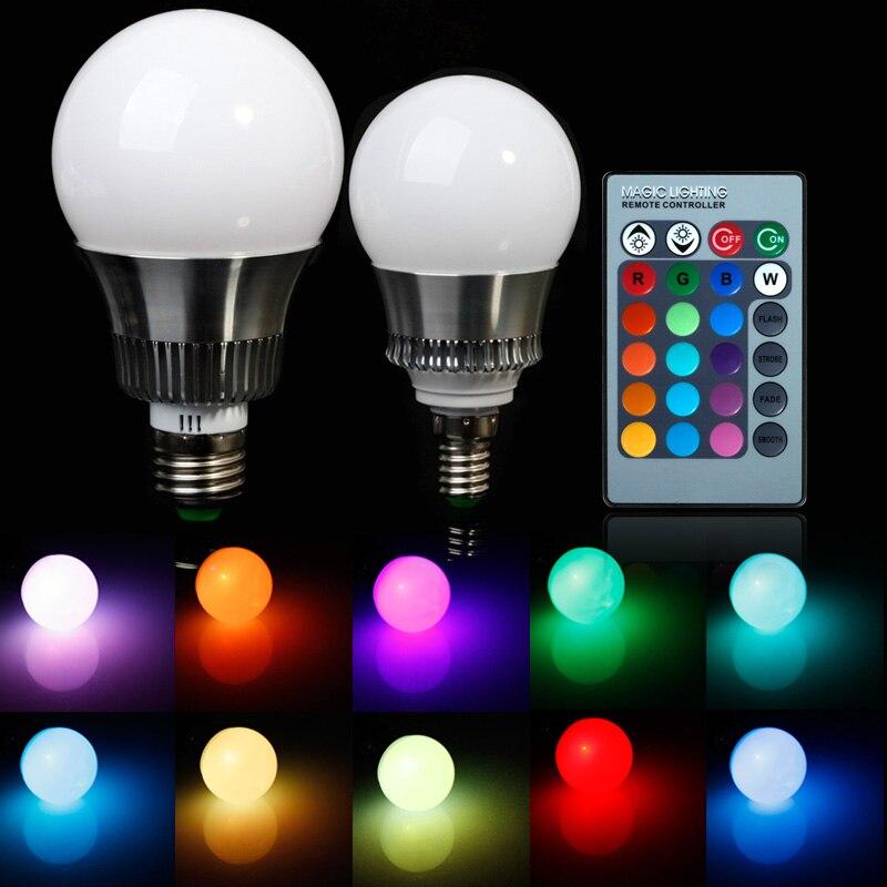 E27 E14 RGB 5W 10W AC85 265V LED Bulb Lamp With Remote Control Multiple  Colour