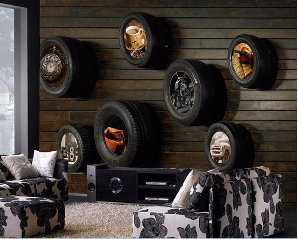 Custom photo Non-woven mural 3d wallpapers for living room Automobile tire TV background wall painting 3d wall murals wallpaper custom photo mural modern minimalist 3d white rose non woven wallpaper for living room sofa background 3d wall murals wallpaper