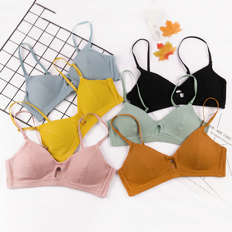CARP TALE Fashion Plunge Bra Underwire Unlined Push Up Bras Adjusted straps Underwear Solid Color Cotton Seamless 3 4 Cup in Bra Brief Sets from Underwear Sleepwears