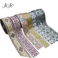 JOJO BOWS 60mm 2y Embroidery Ribbon For Crafts Irregular Pattern Tape DIY Hair Bows Material Handmade Apparel Sewing Accessories martha stewart crafts silver ribbon bows