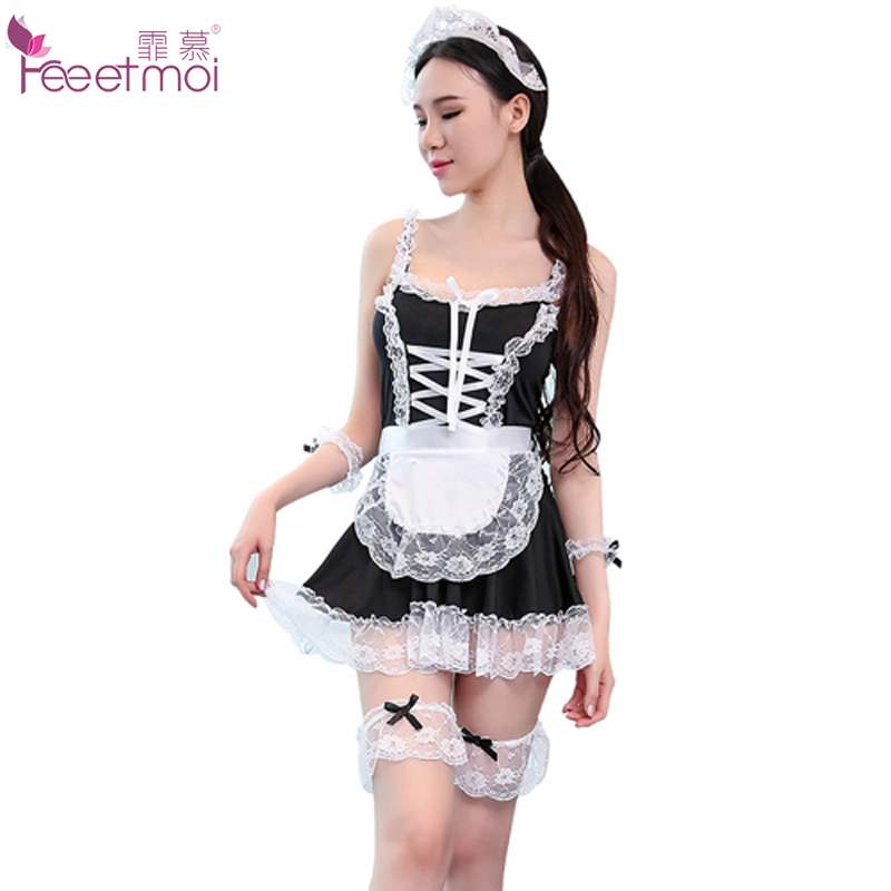 Feeetmoi Maid Sexy Lingerie Hot Costumes Sexy Dress Set Women Low-cut strap Lace Apron Sexy Underwear Women Erotic Lingerie Sets