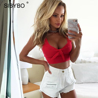 Sibybo Bow Tie Sweet Tank Top Women Red Bustier Crop Top Sleeveless Party Clue Cute Tops