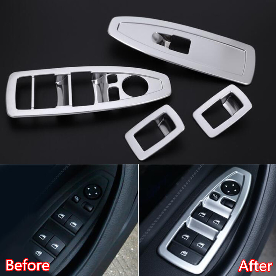 YAQUICKA 4Pcs/set Car Window Lift Switch Button Frame Trim Styling Sticker For BMW X1 F48 2016 2017 2018 Interior Accessories 4pcs set door window switch lift cover botton panel trim car styling for lexus nx200t nx300h decorate car covers accessories