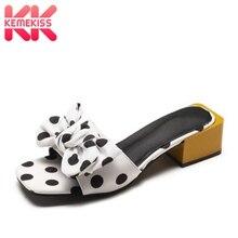 Купить с кэшбэком KemeKiss Women Sandals Fashion Dot Print Summer Beach Slippers 2019 New Sweet Bowknot High Heels Casual Shoes Women Size 35-40