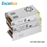 DC 12V 30A 40A 50A Lighting Transformer LED Driver Power Adapter 360W 480W 600W For Machine LED Strip Light Switch Power Supply