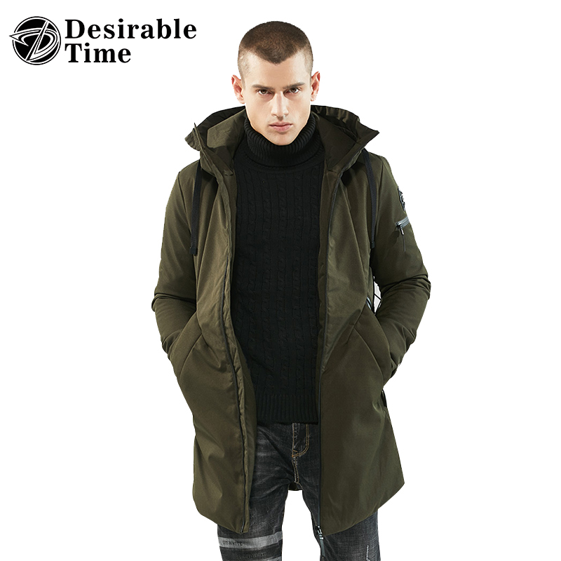 2017 Fashion Mens Winter Hooded Parkas Jacket M-3XL Army Green and Black Long Warm Parka Men DT170 куртка turbokolor ewald jacket ss13 green orange m