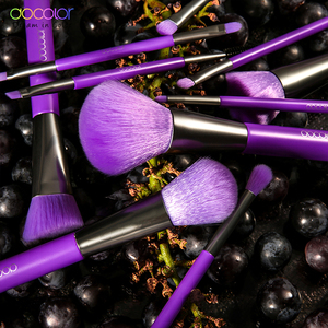 Image 5 - Docolor 10Pcs Purple Makeup Brushes Synthetic Hair Professional Powder Foundation blush eye Blending Contour Make up Brushes set