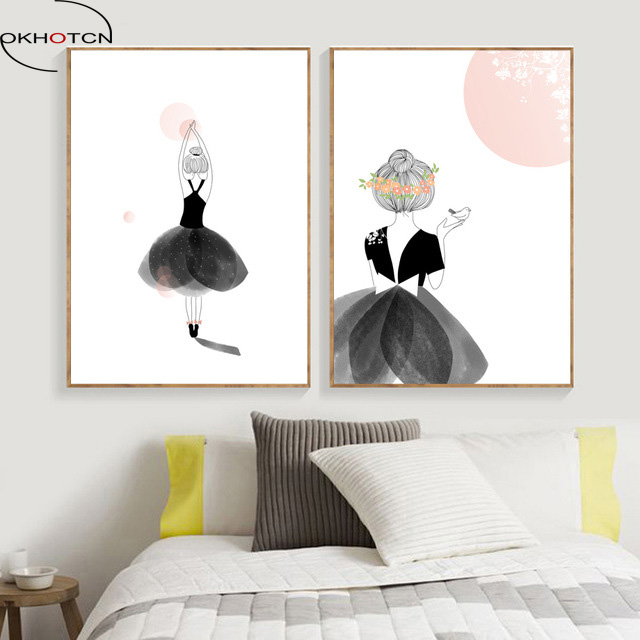 100% Waar Okhotcn Aquarel Ballet Meisje Dansen Ingelijste Canvas Schilderij Nordic Wall Art Nordic Portret Foto Voor Meisjes Slaapkamer Decor Regelmatig Drinken Met Thee Verbetert Uw Gezondheid