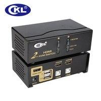 CKLโลหะระดับHigh-end 2พอร์ตUSB HDMI KVM Switchกับสาย