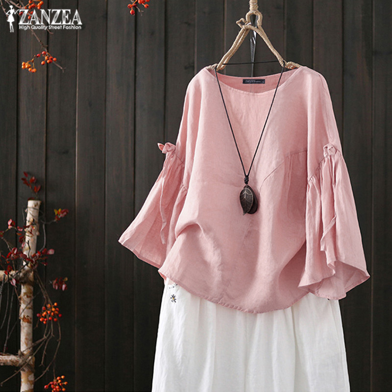 2019 ZANZEA Elegant Summer Tops Women's Linen Blouse Fashion Flare Sleeve Shirt Female Solid O Neck Blusas Mujer Plus Size Tunic