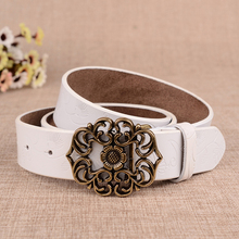 цена на Hollow out Floral Cow Genuine Leather women belts High quality skin harajuku Buckle strap jeans korean fashion white black wide