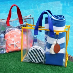 Transparent PVC hand carry swimming storage bag portable clothes bag 35 14 27cm in Storage Bags from Home Garden