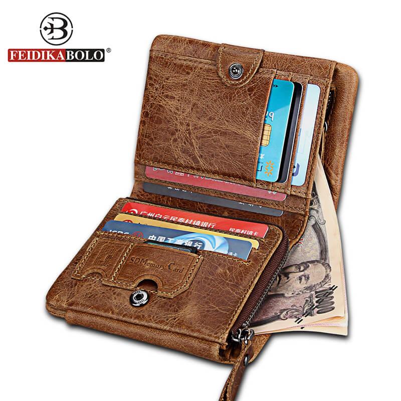 FEIDIKABOLO Brand NEW Genuine Leather Men Wallet Small Men Wallets Zipper&Hasp Male Short Pouch Coin Purse Brand Pocket Wallet feidikabolo brand men wallets business