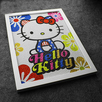 Diy 30 40CM Colourful Hello Kitty 5D Diamond Painting Full Embroidery Round Diamond Rhinestone For Room