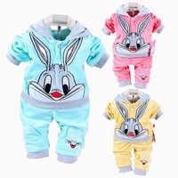 Nouveau bébé filles vêtements ensemble dessin animé lapin Hello Kitty printemps belle bébé ensembles enfants vêtements décontracté velours enfants vêtements