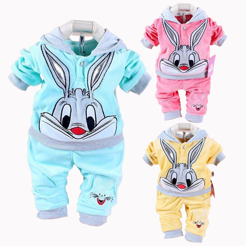 New Baby Girls Clothing Set Cartoon Rabbit Hello Kitty Spring Lovely Baby's Sets Children Clothes Casual Velour Kids Clothing 2017 new spring autumn baby set velvet hello kitty cartoon print hoodie pant twinset long sleeve velour baby clothing sets