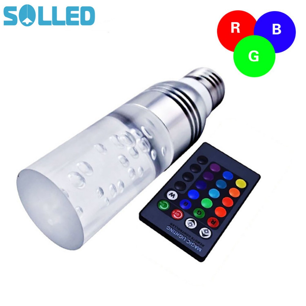 SOLLED Remote Control 3W E27 RGB Colorful Changing LED Crystal Light Bulb Lamp for Family Birthday Festival Xmas Bar Club e27 3w rgb 16 color changing led crystal light bulb lamp