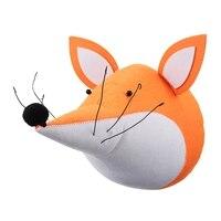 Newest 3D Felt Fox Animal Head Wall Decorations Animals Head Toys Kids Bedroom Wall Hangings Artwork
