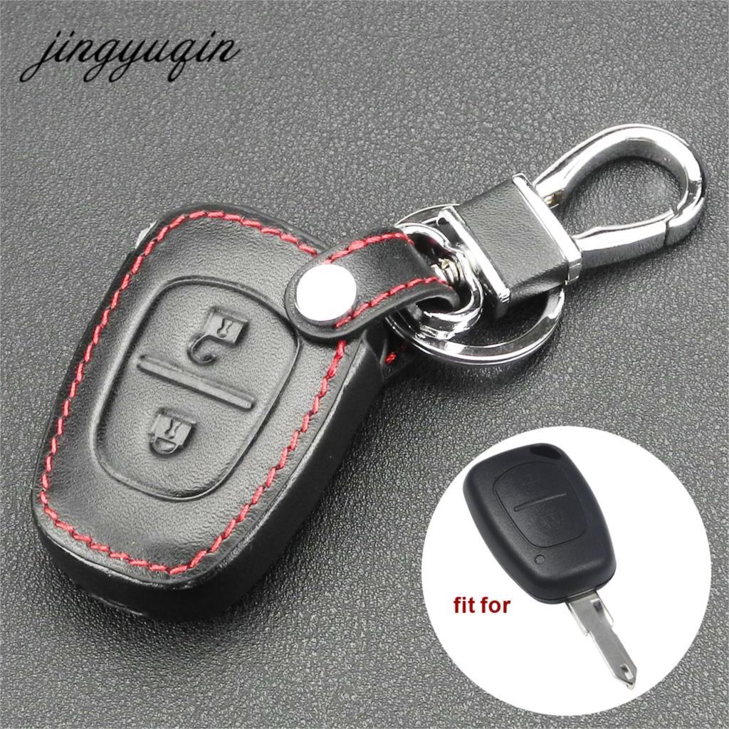 Jingyuqin 2 Button Remote Key Fob Leather Case For Vivaro Movano Renault Traffic Kangoo For NISSAN Opel Car Key Protect Holder