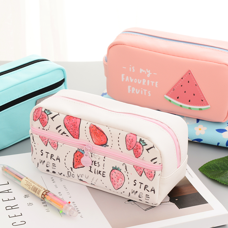 Kawaii Pencil Bag Cat Canvas School Supplies Stationery Gift Cartuchera Cute Pencil Case Pen Bag Stationary Pouch Organizer