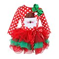 2016 Red Christmas Girls Dress Snow Man Xmas Winter Dot Dresses Kids Clothes Cotton Children's Clothing Christmas Party Costume