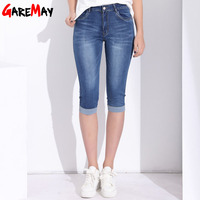 GAREMAY Plus Size Skinny Capris Jeans Woman Female Stretch Knee Length Denim Shorts Jeans Pants Women