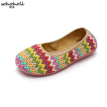 WHOHOLL 2019 Spring Breathable Women Casual Shoes Slip on Women Flats Flat Loafers Woven Shoes Flat Weave Fashion Casual Shoes