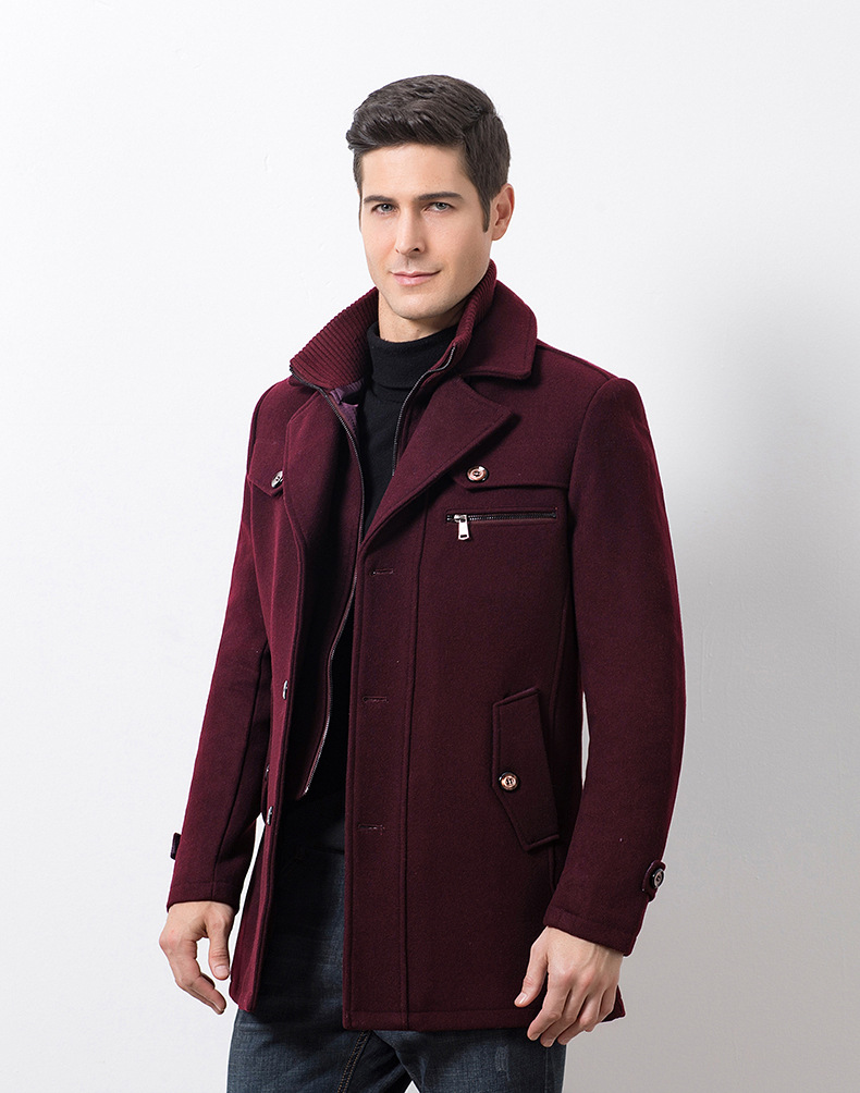 Winter Men's Casual Wool Trench Coat Fashion Business Medium Solid Thicken Slim Windbreaker Overcoat Jacket Male Plus Size 5XL 19