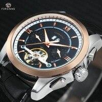 FORSINING Men Mechanical Wrist Watch Leather Strap Tourbillion Sub dial Calendar Dial Golden Bezel Top Brand Luxury Auto Watch
