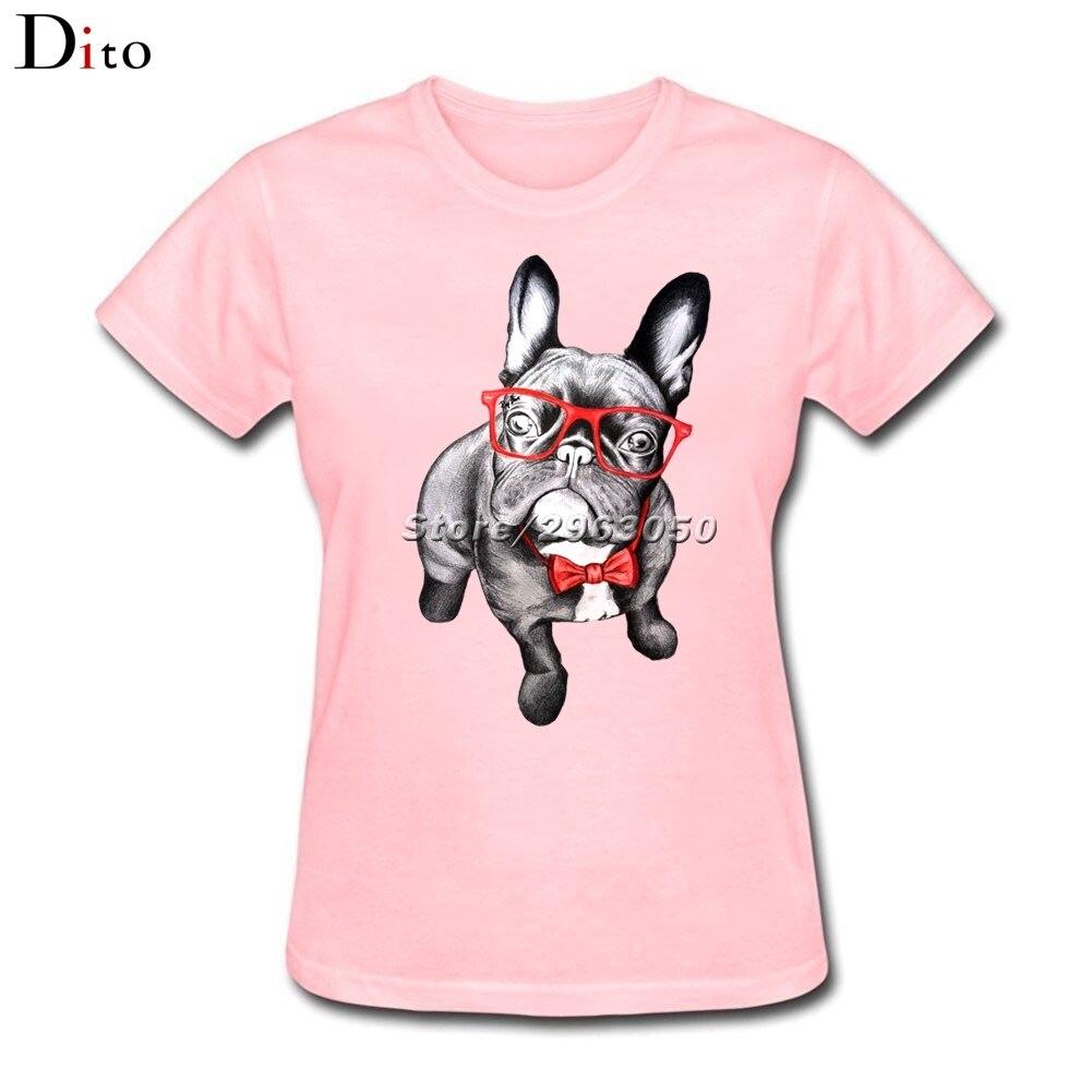 Френчи Французский бульдог футболка Для женщин для отдыха Изделие из хлопка с короткими рукавами пользовательские розовый Футболки