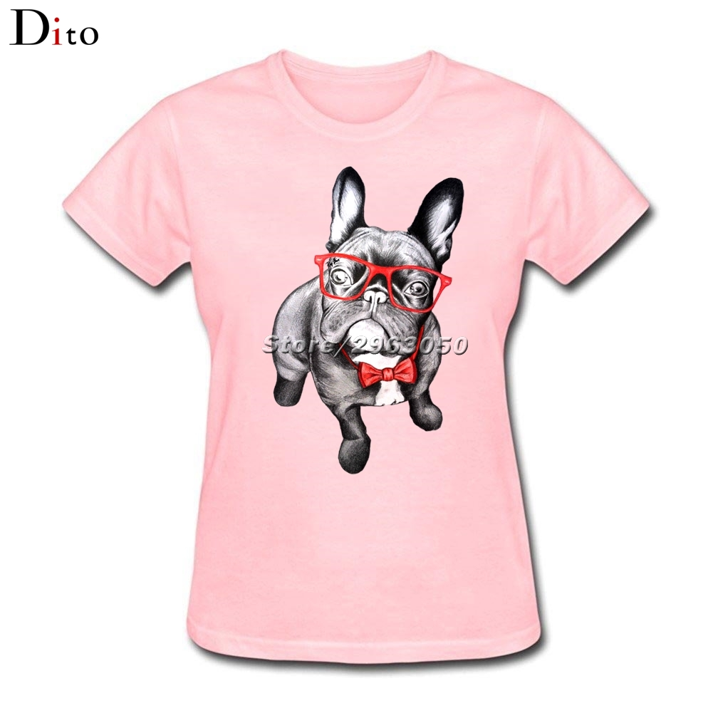 Frenchie French Bulldog T Shirt Womens Leisure Short Sleeve Cotton Custom Pink T-shirts ...
