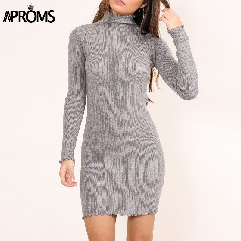 Aproms Ruched Ruffles Winter Knitted Dress Womens Sexy High Waist Bodycon Sweater Dress Sexy Long Sleeve Warm Dresses Vestidos