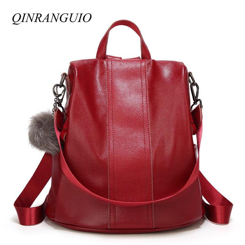 QINRANGUIO Women Backpack PU Leather Backpack Women Top-handle School Bags for Teenage Girls Fashion School Backpack
