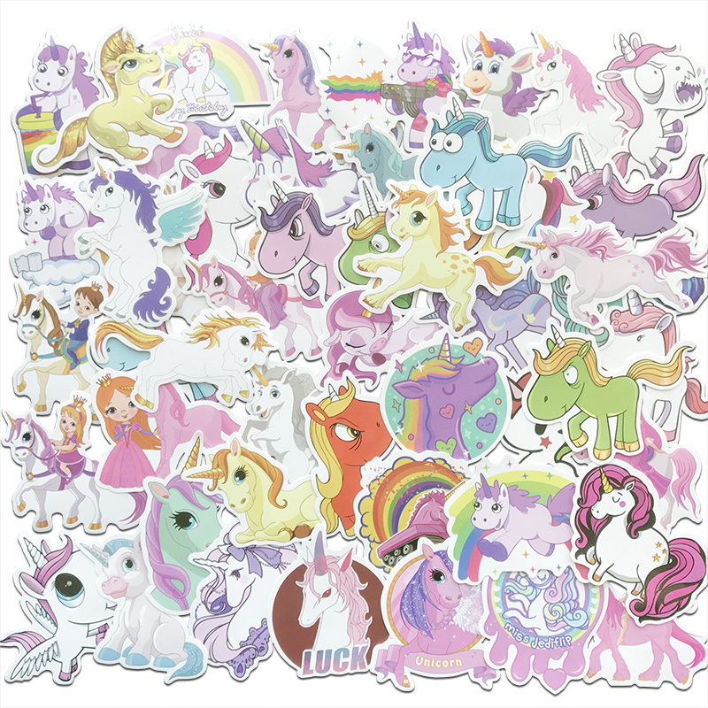 AQK 50Pcs/Lot Lovely Unicorn Stickers For Kids DIY Laptop Skateboard Luggage Car Styling Doodle Decals Cute Funny Sticker Pack