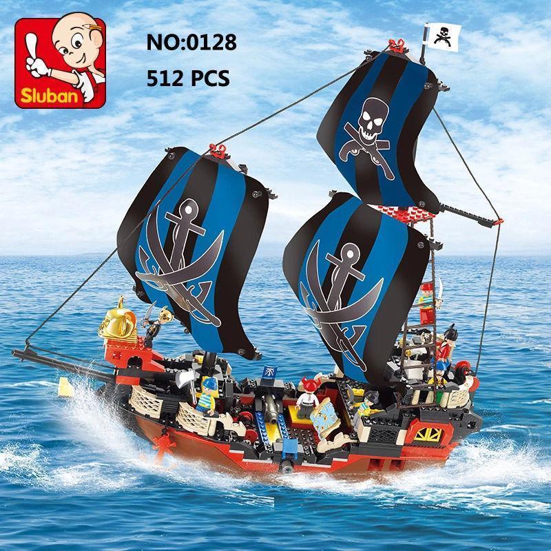 Sluban Educational 3D Toys The Black Pearl Pirate Ship 3D Building Blocks 512Pcs Boat Blocks Set black pearl building blocks kaizi ky87010 pirates of the caribbean ship self locking bricks assembling toys 1184pcs set gift