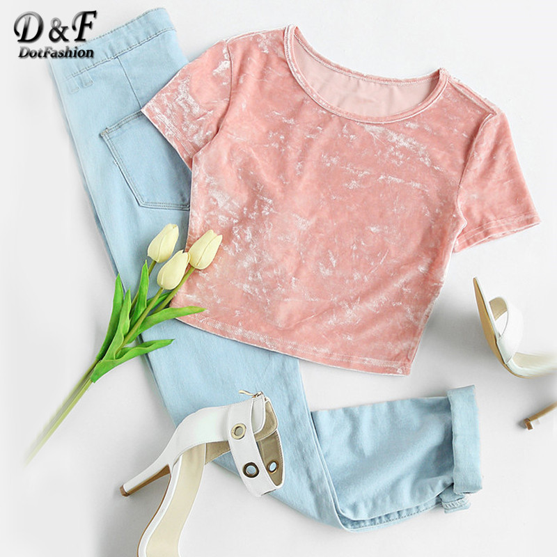 Dotfashion Crushed Velvet T Shirt Women Pink Short Sleeve Sexy Slim Fit Summer Crop Tops 2017