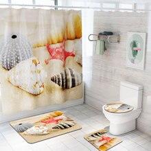 Морские животные Шторки для душа с принтом 4 шт. ковровое покрытие крышка для унитаза коврик для ванной набор занавес для ванной комнаты 12 крючков