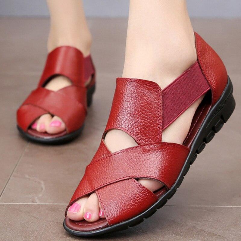 Wedge-Sandals Female Shoes Elastic-Band Large-Size Fashion Summer Women Ladies Non-Slip