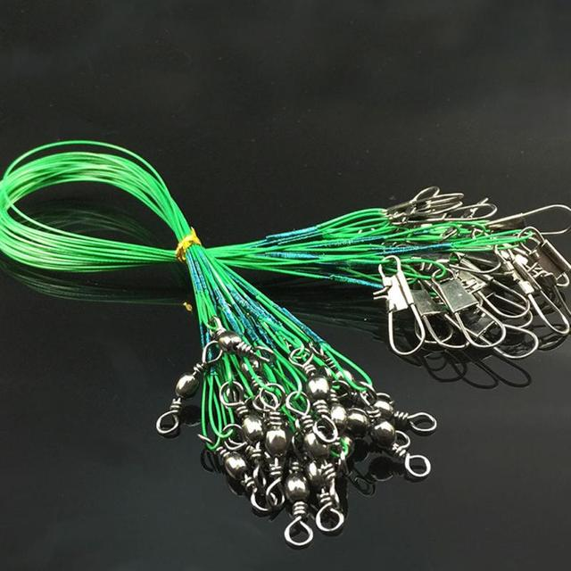 10pcs/lot Fishing Wire Line Leash Lure Fishhook Line Trace Wire Leader Swivel Snap Spinner Shark Spinning Expert 15cm 20cm 25 cm
