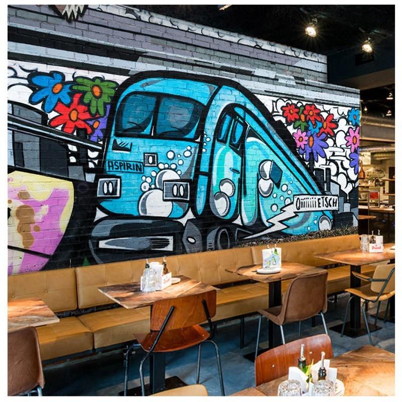 Custom photo wallpaper 3D nostalgic street graffiti wallpaper Studio cafe Cafe Restaurant Background wallpaper Custom mural цена и фото