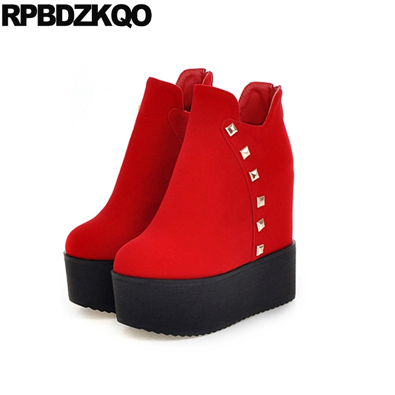 Platform Metal Fur Red Flat Rivet 10 Big Size Women Ankle Boots 2016 Round Toe Shoes Height Increasing Fashion Booties Slip On недорого
