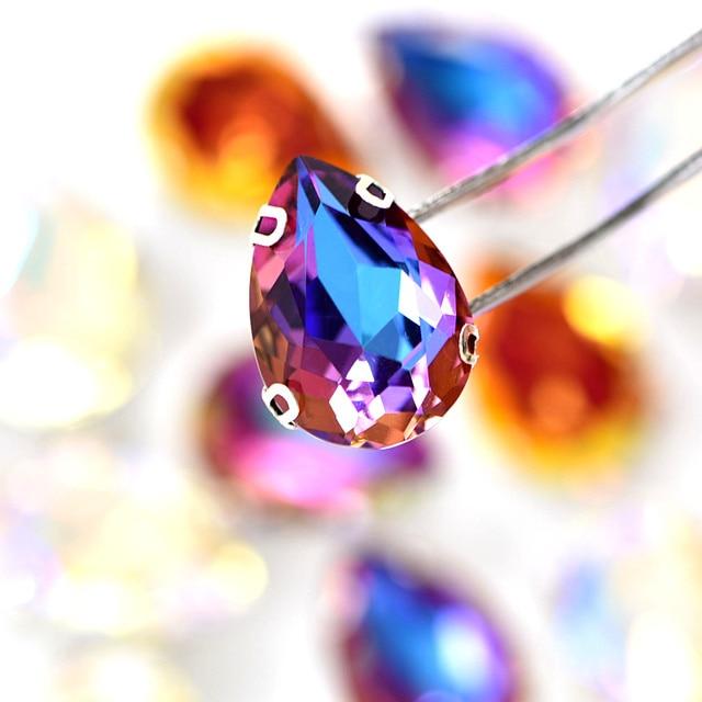 20pcs AAAAA Quality Teardrop Sew On Rhinestones With Claw 13x18mm Crystal Glass Rhinestones for DIY Garments Wedding Dress B1224