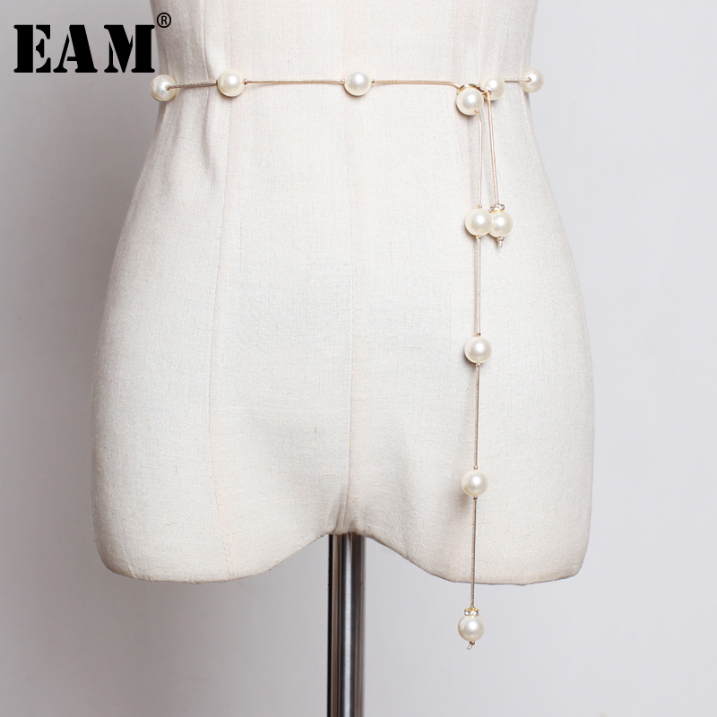 [EAM] 2020 New Spring Summer Metal Pearl Split Joint Temperament Personality Long Belt Women Fashion Tide All-match JU454