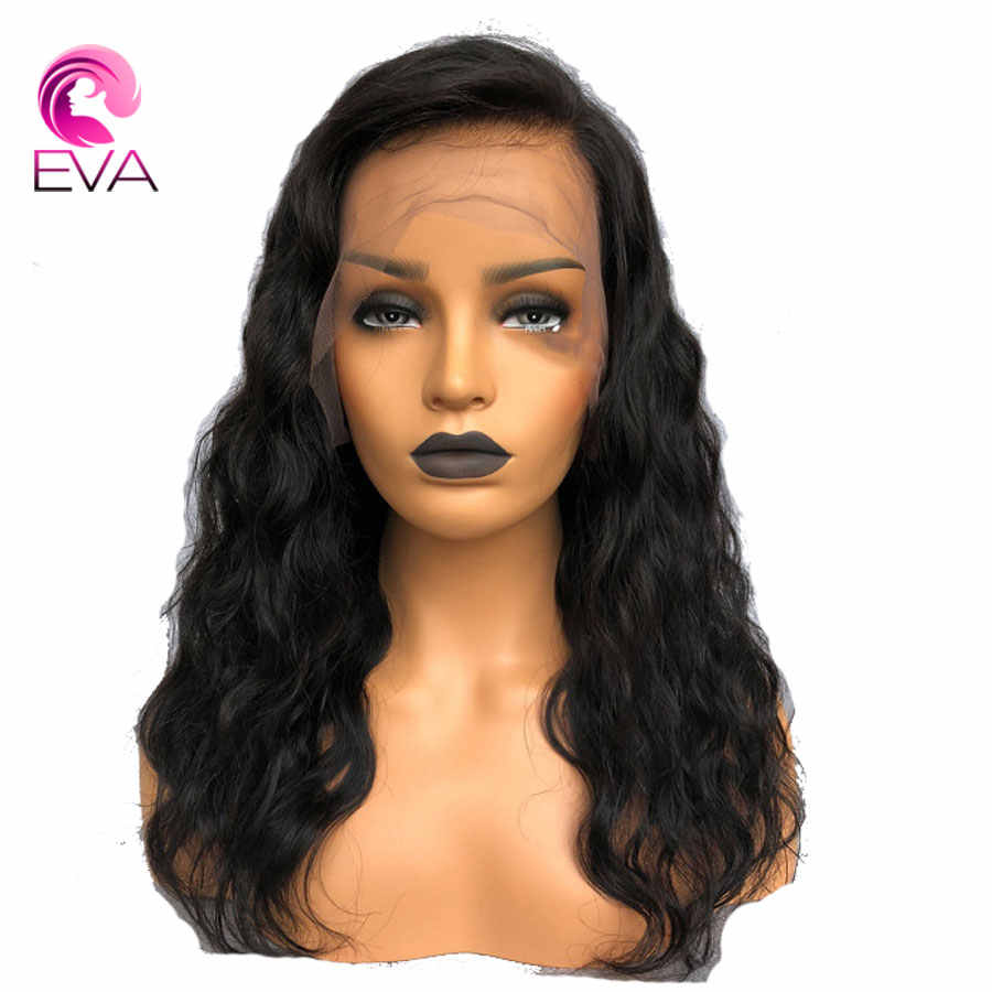 Парики из натуральных волос ЭВА на кружеве для женщин, черные бразильские волосы remy, парики из натуральных волос с детскими волосами, предварительно выщипывающиеся отбеленные узлы