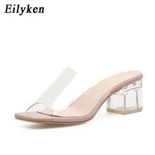Eilyken 2019 Summer Gladiator Sandals Women Leisure Crystal Square heel slippers Fashion Women's Sandals Slides shoes