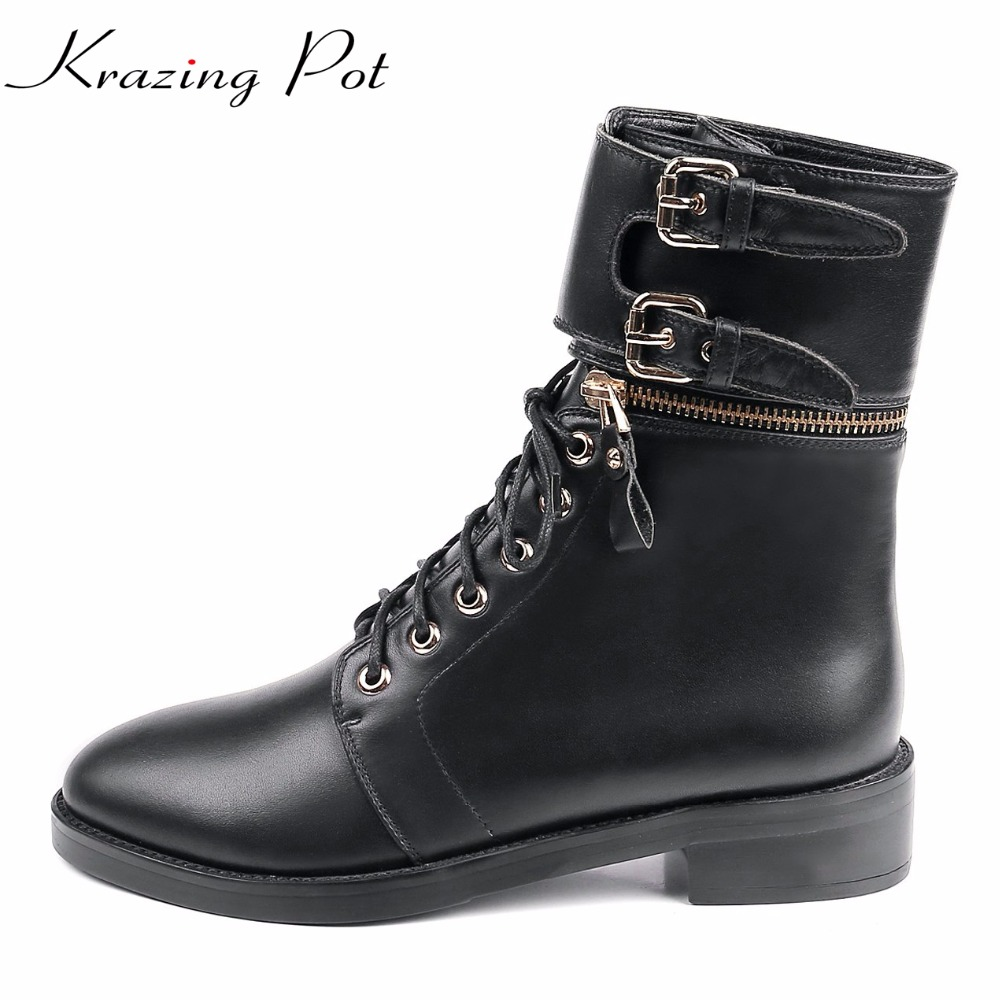 Krazing Pot cow leather winter med heels round toe metal buckle rivets decoration lace up cross-tied mild-calf riding boots L66 double buckle cross straps mid calf boots